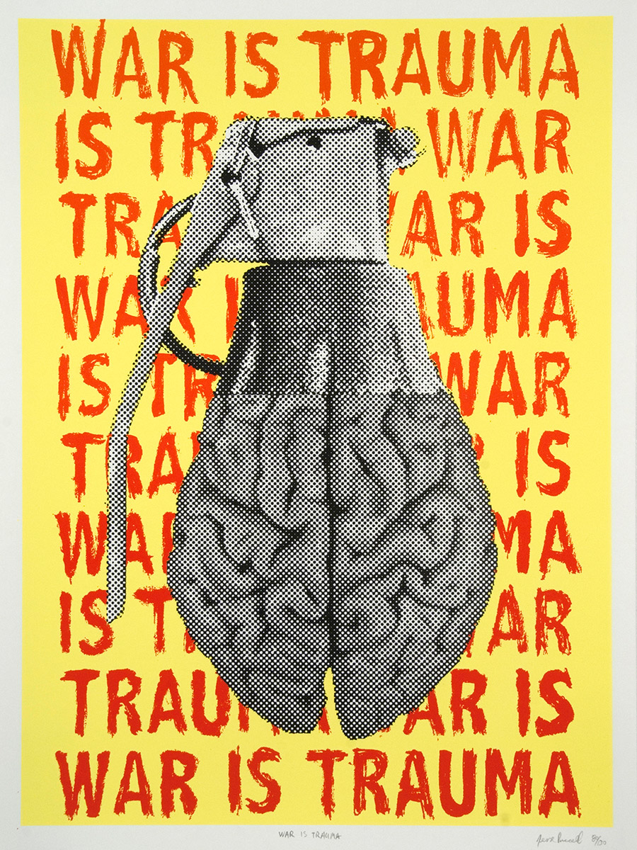 War is Trauma Hand Grenade by Jesse Purcell, lithograph