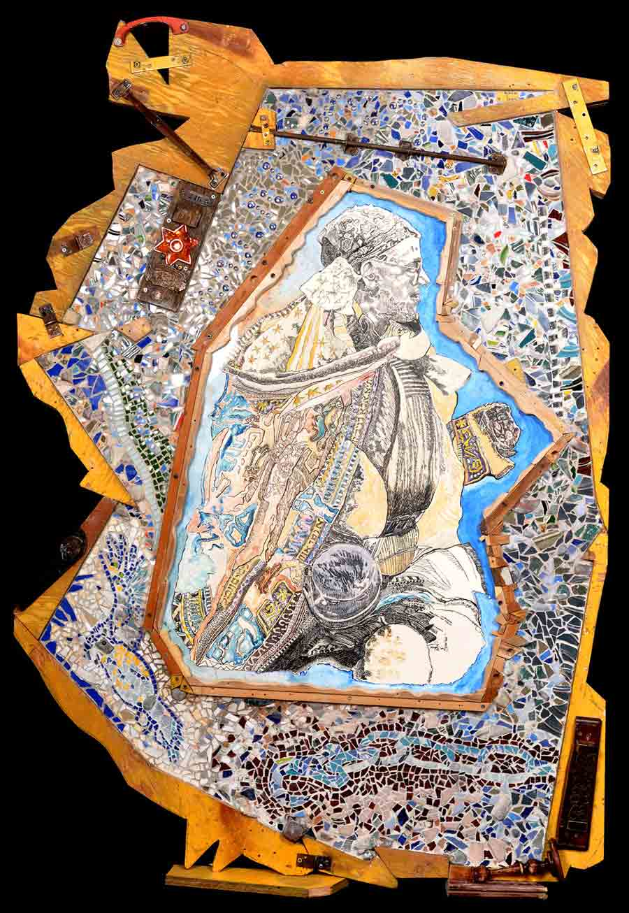 Multiple-amputee Awaiting Deportation, Lodz, Poland, mixed media mosaic