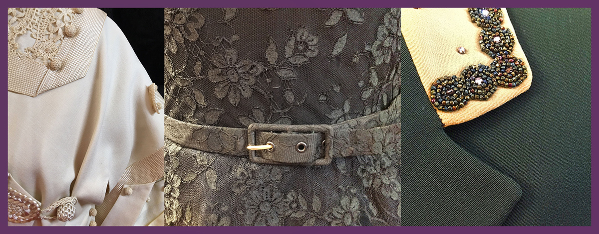 Closeups of garments belt and lapel